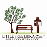 Little Free Library logo - tree next to brown bench