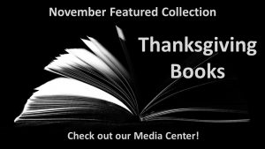 Open book with fanned pages; Media Center Thanksgiving collection